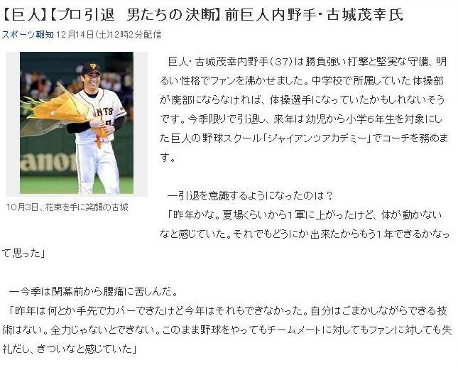 気になる記事(読売巨人軍:古城選手): ある健康スポーツ医のメモ帳